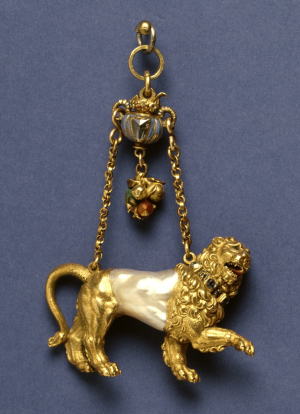 0-Anonymous-Orfevrerie-Germany-or-Flanders-Pendant-c1600-1650-Lion-enameled-gold-diamond-ruby-baroque-pearl-Walters-Art-Museum-Baltimore-c