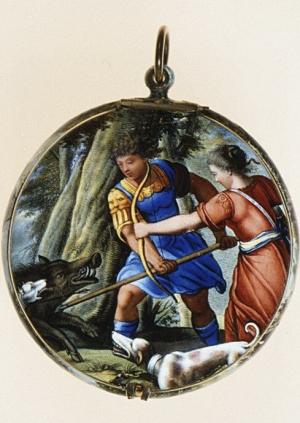 Bretoneau-Auguste-after-print-by-Antonio-Tempesta-Hunt-of-the-Caledonian-Boar-c1645-50-enamel-on-gold-watch-case-Metropolitan-Museum-of-Art-New-York