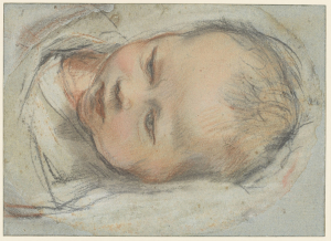 Barocci-Federico-Head-of-swaddled-baby-(study-for-Chirst-child)-c1595-drawing-on-blue-paper-colored-chalks-Royal-Collection
