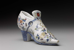 Moor's-Head-Factory-(Delft)-attributed-Miniature-bridal-shoe-c1685-tin-glazed-earthenware-Museum-of-Fine-Arts-Boston-c