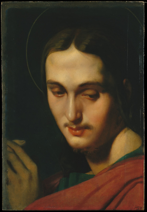 Ingres-Jean-Auguste-Dominique-Head-of-St-John-the-Evangelist-(study-for-altarpiece)-c1818-20-oil-on-canvas-mounted-on-panel-Metropolitan-Museum-of-Art-New-York