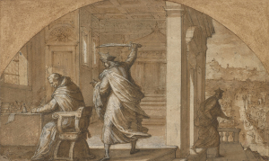 Poccetti-Bernardino-attributed-Attack-on-St-Antoninus-and-attacker-fleeing-(in-lunette)-before-1612-drawing-Royal-Collection