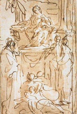 Tiepolo-Giandomenico-attributed-Madonna-and-Child-enthroned-with-Saints-before-1804-drawing-Minneapolis-Institute-of-Art-