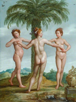 Anonymous-painting-The-Three-Graces-(after-Francesco-Primaticcio)-18th-century-oil-on-panel-Bowes-Museum-Barnard-Castle-County-Durham