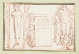 Ango-Jean-Robert-Studies-of-Decorative-Details-with-Figure-of-Apollo-from-Raphael's-School-of-Athens-c1759-70-drawing-Cooper-Hewitt-Smithsonian-Design-Museum